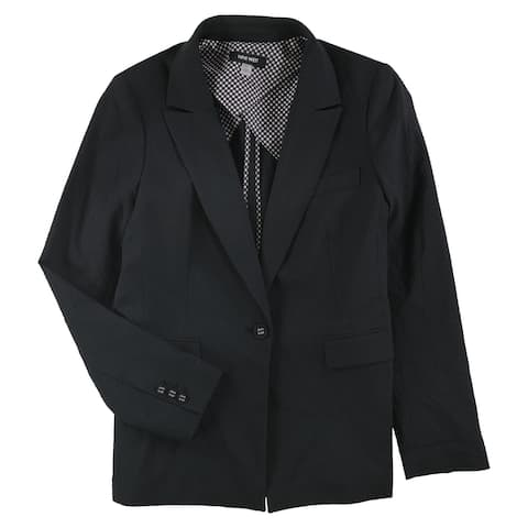Nine West Womens Seersucker One-Button Blazer Jacket, Black, 8