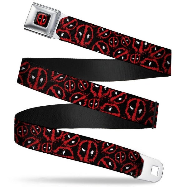 Marvel Universe Deadpool Splatter Logo Black Red White Deadpool Splatter Seatbelt Belt