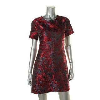 Aqua Womens Suzette Brocade Woven Wear to Work Dress