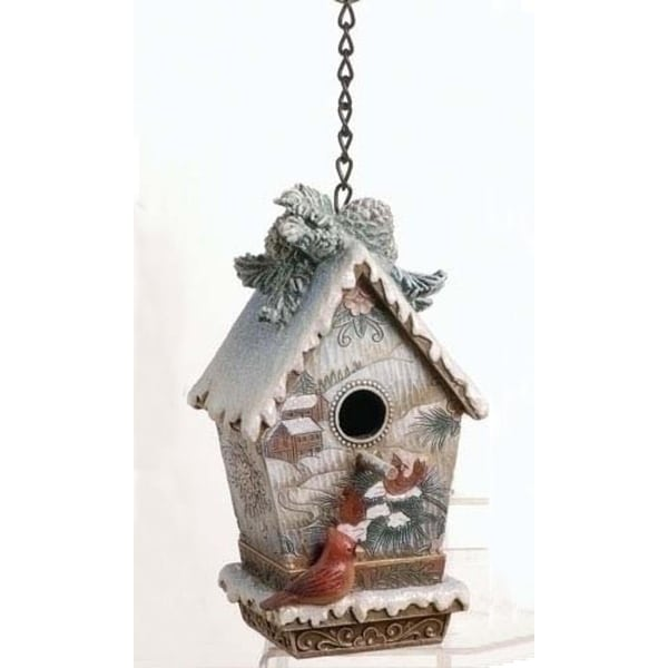 "Nature's Story Teller Christmas Decorative Birdhouse Figure 6.5"" - multi"