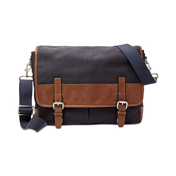 Fossil Mens Graham Messenger Bag Canvas Leather Trim