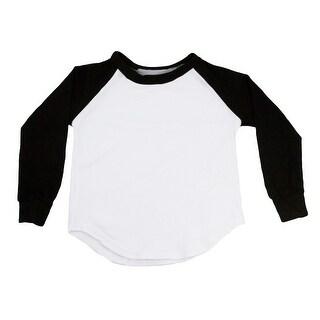 Unisex Baby Black Two Tone Long Sleeve Raglan Baseball T-Shirt 6-12M