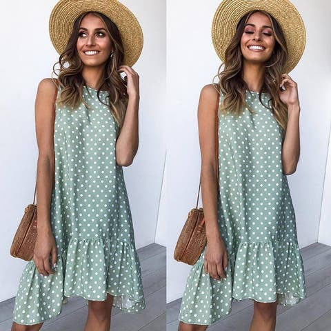 2019 Printed Wave Point Ruffled Dress