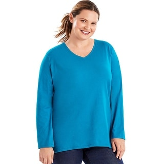 Just My Size Long-Sleeve V-Neck 100% Cotton Women's Tee - Size - 5X - Color - Deep Dive