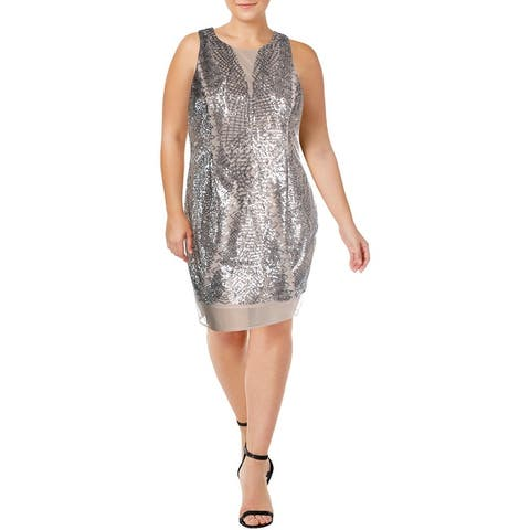 Laundry by Shelli Segal Womens Cocktail Dress Mesh Sequined - Nude Silver