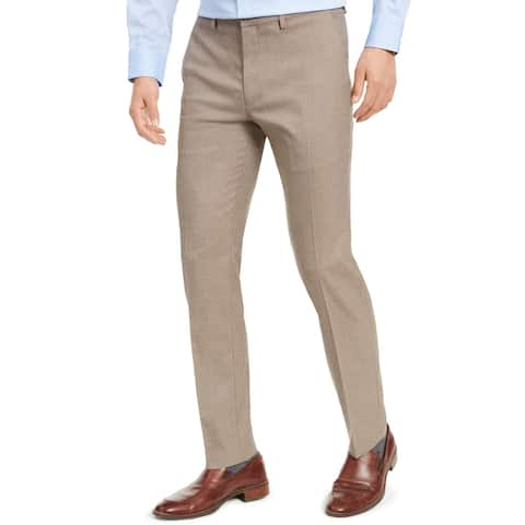 Kenneth Cole Reaction Mens Herringbone Dress Pants Flat Front Slim Fit - Oatmeal