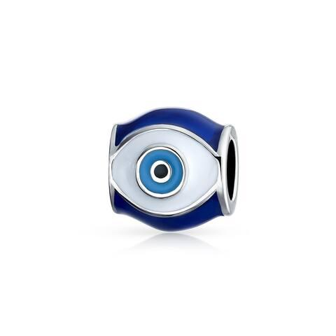 Blue Evil Eye Spiritual Good Luck Charm Barrel Bead For Teens For Women 925 Sterling Silver Fits European Bracelet