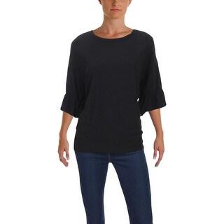 Michelle by Comune Womens T-Shirt Slub Bell Sleeve