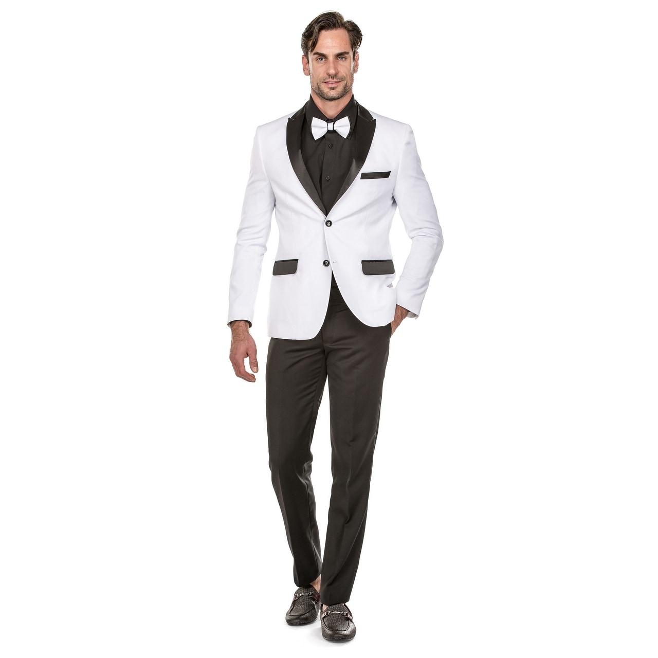 classic chic top-rated original great deals 2017 Porto Filo Men's 2 Piece White Tuxedo Slim-Fit Suit (White Jacket, Black  Pants)
