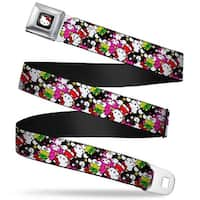 Hello Kitty W Red Bow Full Color Black Hello Kitty & 4 Friends Stacked Seatbelt Belt