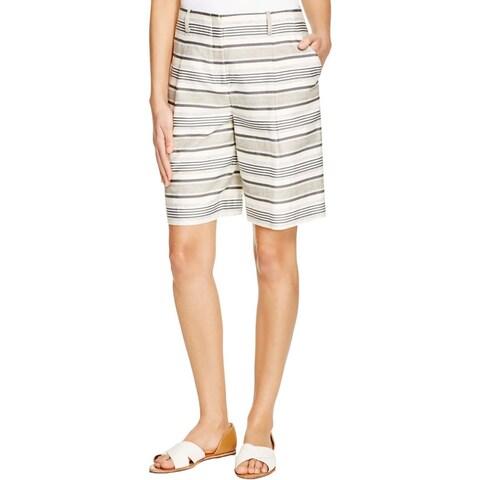 Lafayette 148 Womens Dress Shorts Woven Striped