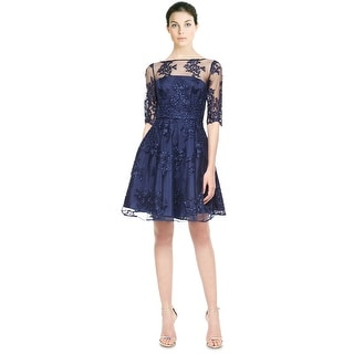 ML Monique Lhuillier Lace Illusion Flared Cocktail Evening Dress - 4
