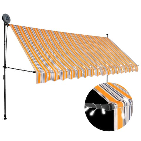 """vidaXL Manual Retractable Awning with LED 137.8"""" Yellow and Blue"""