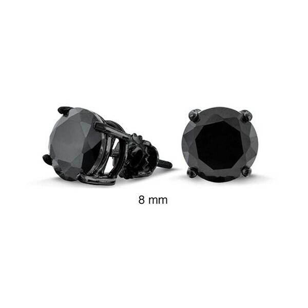 27dc5e853 Bling Jewelry Black CZ Screw Back Post Stud earrings 925 Sterling Silver 8mm