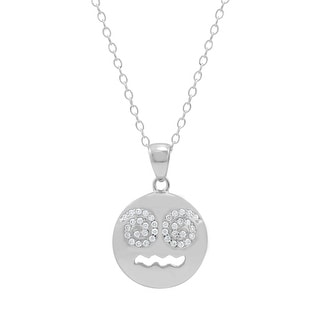 Amanda Rose Cubic Zirconia Dizzy Face Emoji Pendant-Necklace in Sterling Silver on an 18 inch chain