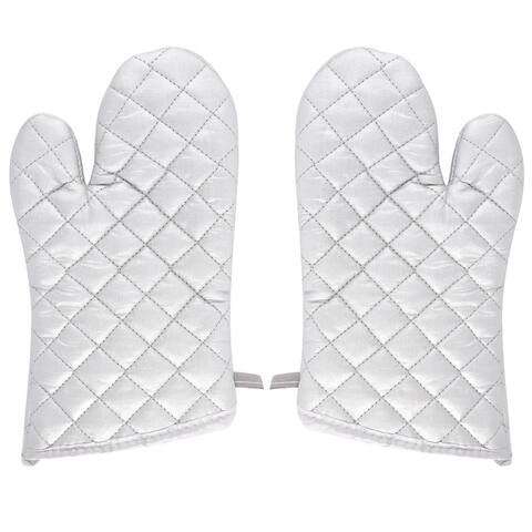 "Kitchen Bakery Heat Resistance Baking Insulated Oven Gloves Pair Silver White - 27 x 15 x 5cm/10.6"" x 5.9"" x 2""(L*W*H)"