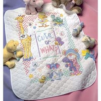"Baby Hugs Cute...Or What? Quilt Stamped Cross Stitch Kit-34""X43"""