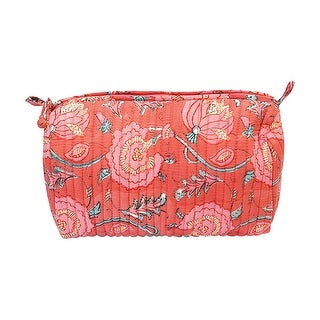 """Anju Jewelry Peony Blooms Toiletries Bag - Red Floral Print, 10""""H x 11""""W x 11""""D. - 10 in. x 11 in. x 11 in."""
