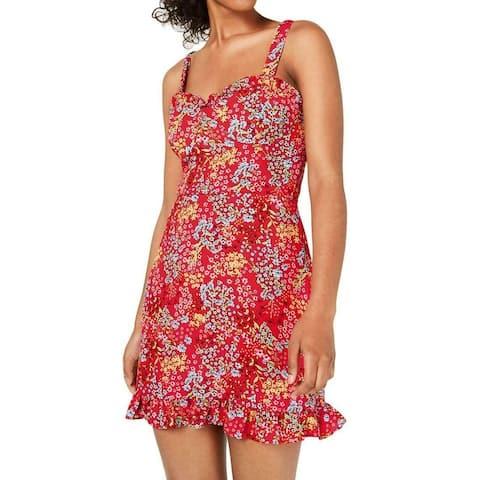 B. Darlin Red Size 0 Junior A-Line Dress Ruffle Hem Ditsy Ruched Waist
