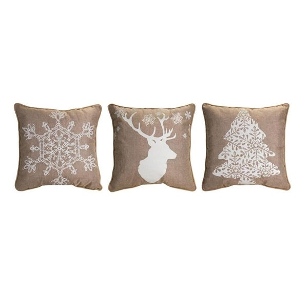 Set of 3 Assorted and Square Burlap Christmas Throw Pillows 17.5""