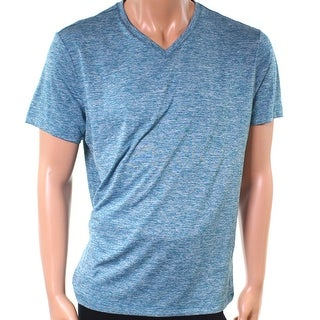 Alfani Azurite Blue Mens Size Large L V Neck Space-Dye Tee T-Shirt