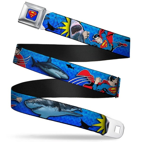 Superman Full Color Blue Superman Action Battling Sharks Webbing Seatbelt Seatbelt Belt