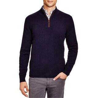 Bloomingdales Mens 2-Ply Cashmere Half Zip Mock Neck Sweater Small S True Navy
