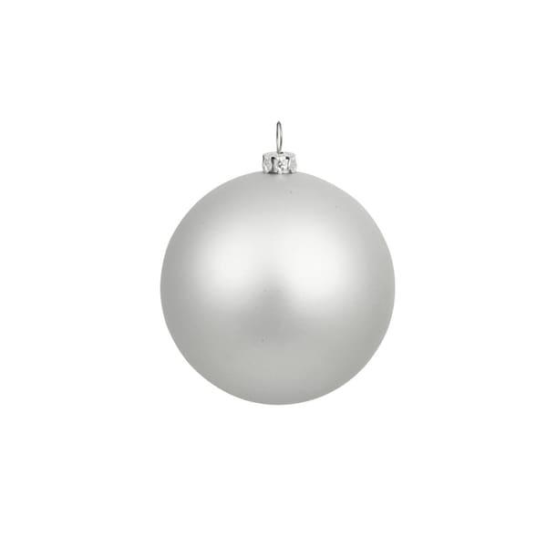 "Matte Silver Splendor Shatterproof Christmas Ball Ornament 4"" (100mm)"