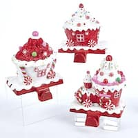 Pack of 3 Red and White Candy Train Decorative Christmas Stocking Holders 6""