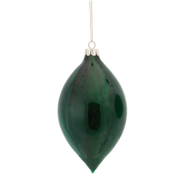 "5.75"" Hunter Green Glitter Marbleized Glass Finial Christmas Ornament"