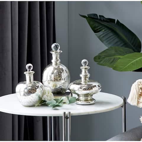 Silver Glass Vintage Decorative Jar (Set of 3) - 6 x 6 x 8Round