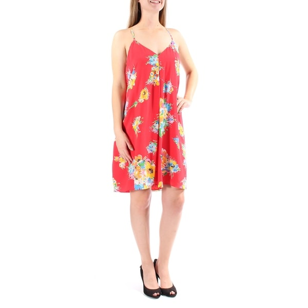83795f46 Shop Ralph Lauren Womens Coral Floral Spaghetti Strap V Neck Above The Knee  Sheath Dress Size: 10 - On Sale - Free Shipping On Orders Over $45 -  Overstock - ...