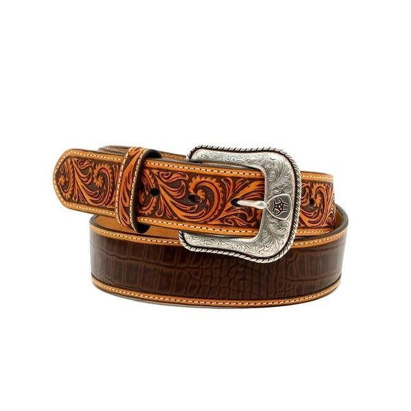 Ariat Western Belt Mens Faux Croco Print Contrast Stitch Logo