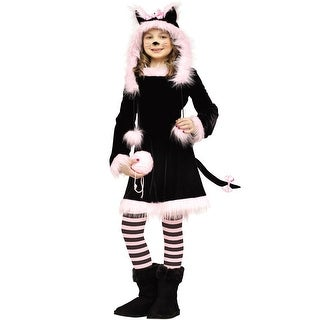 Fun World Hooded Pretty Kitty Child Costume - Black/Pink