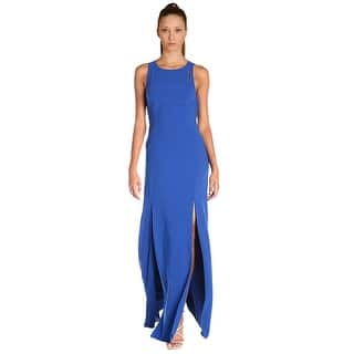Halston Heritage Cutout Front Sleeveless Evening Gown Dress Royal Blue 8