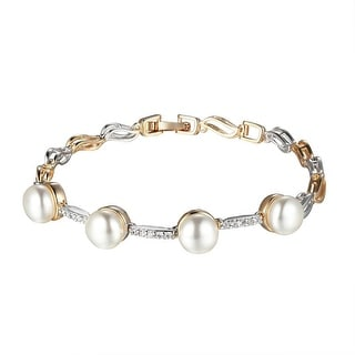Pearl Design Womens Bracelet Lab Diamonds Gold Tone Unique Style Ladies