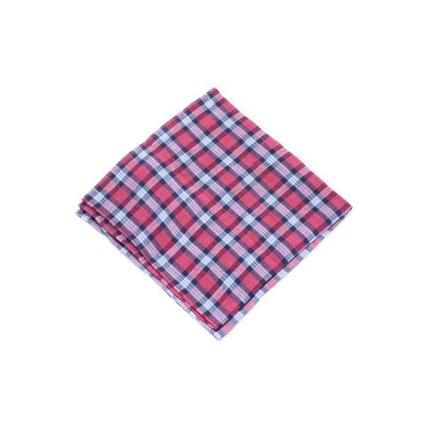 Brunello Cucinelli Red Blue Plaid Linen Plaid Pocket Square