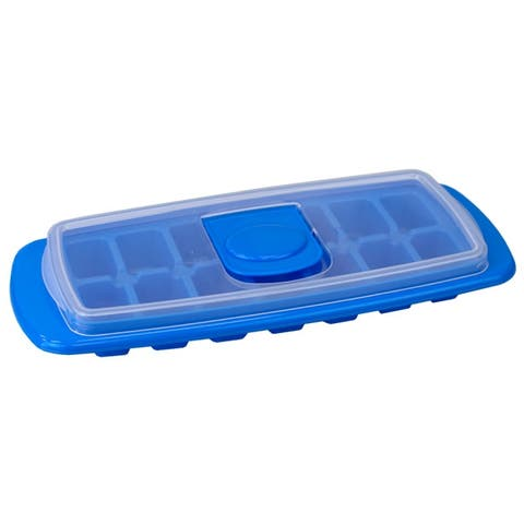 Stackable Plastic Ice Cube Tray with Removable Snap-on Lid, Blue