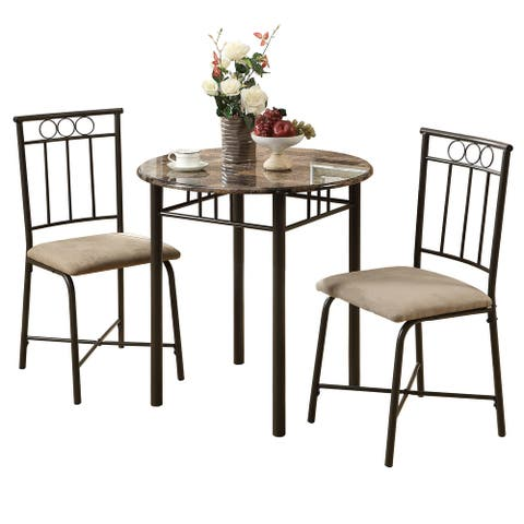"""3-Piece Beige and Brown Contemporary Rectangular Dining Table 30"""""""