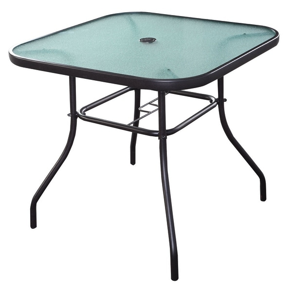 Shop Costway 32 1 2 Patio Square Bar Dining Table Glass