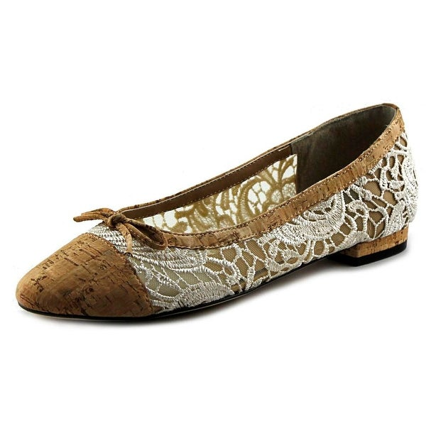 Vaneli Caddie Women Round Toe Canvas Tan Flats