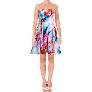 Aqua Womens Scuba Dress Strapless Boning
