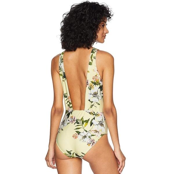 RACHEL Rachel Roy Printed V-Neck One-Piece Swimsuit Medium