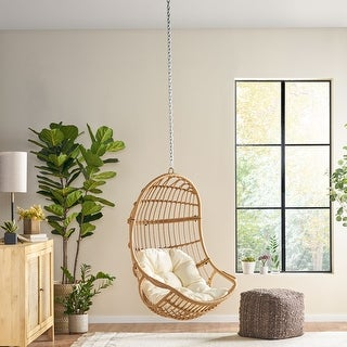 Link to Richards Wicker Hanging Chair (No Stand) by Christopher Knight Home Similar Items in Hammocks & Swings