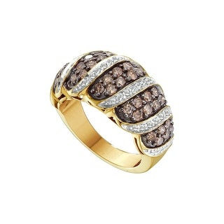 14k Yellow Gold Cognac-brown Colored Natural Diamond Womens Cocktail Fine Ring 1.48 Cttw - Brown/White
