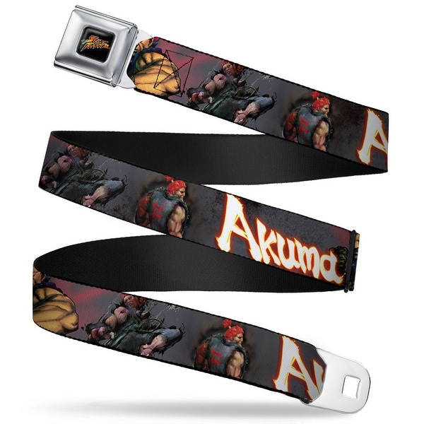 Street Fighter Logo Full Color Black Akuma Action Pose Webbing Seatbelt Seatbelt Belt