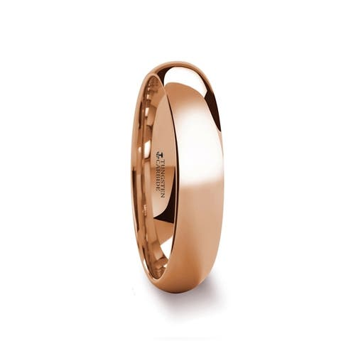 THORSTEN - SOL Traditional Domed Rose Gold Plated Tungsten Carbide Wedding Ring - 4mm