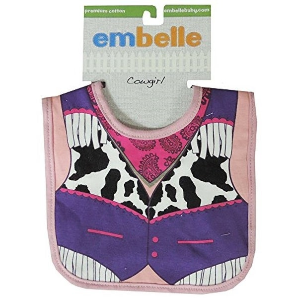 Embelle Baby Infant Girl Cowgirl Cotton Knit Bib Animal Print Pink Purple
