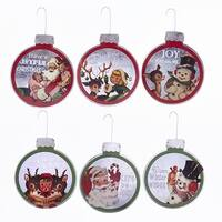 "Pack of 48 Retro Inspired Christmas Images w/ Phrases Metal Christmas Ball Ornaments 3.75"" - green"