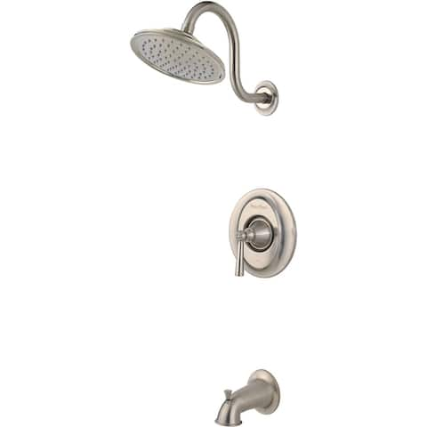 Pfister LG89-8GL Saxton Tub and Shower Trim Package with Single Function Rain Shower Head, SecurePfit, and EZ Clean -